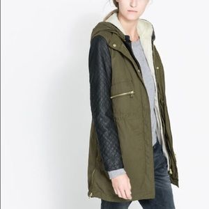 ZARA Military Parka with Faux Leather Sleeves